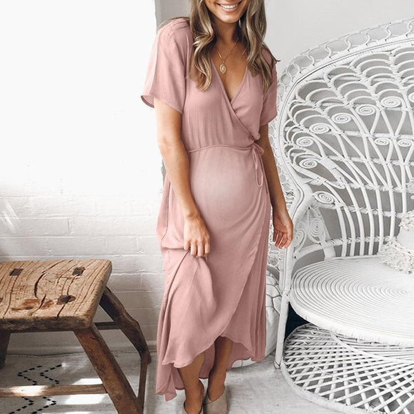 Maternity V-Neck Short Sleeve Asymmetric Daily Dress