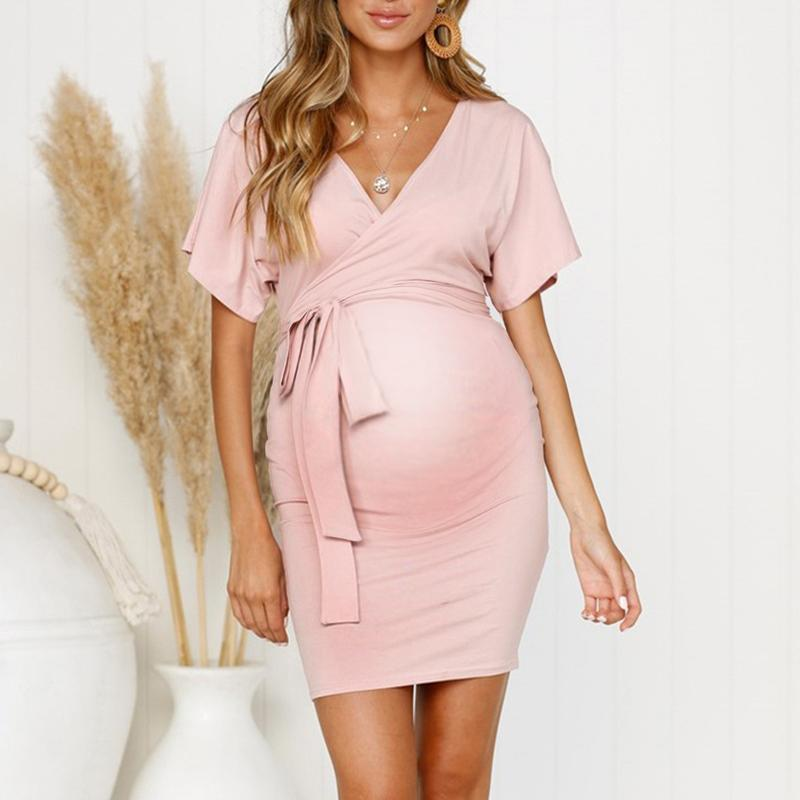 Maternity V-Neck Lacing Plain Daily Dress 3 Colors