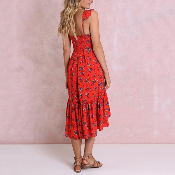 V-Neck Red Flower Print Maternity Dress