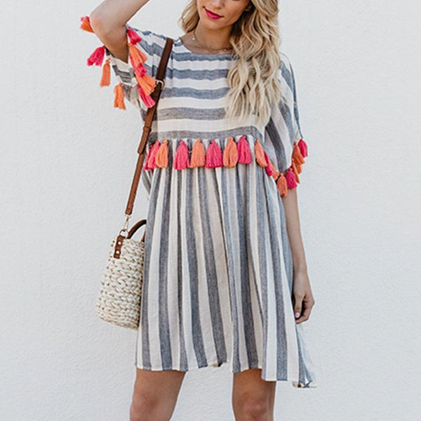 Tassel Short Sleeve Stripe Dress