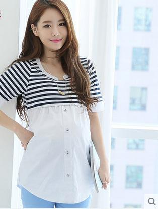 Maternity Stripe Splicing Top