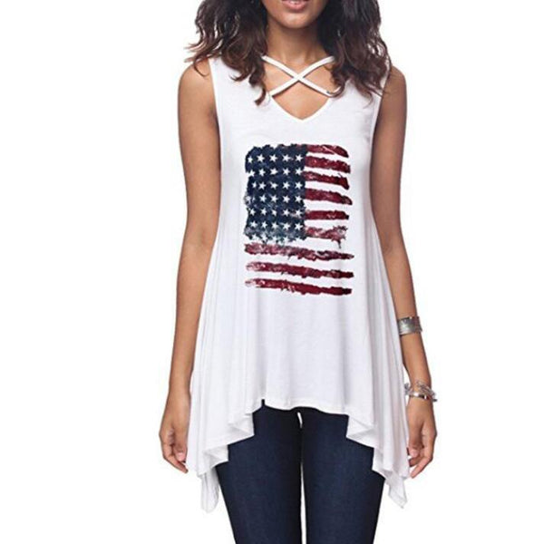 American Flag Prints Lace-Up T-Shirt