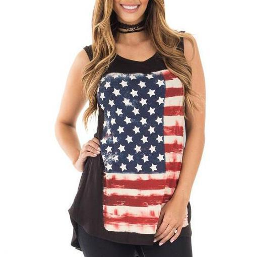 American Flag Prints Sleeveless Tank Top