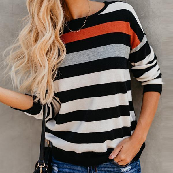 Round Neck Stripe Splice Loose T-Shirt