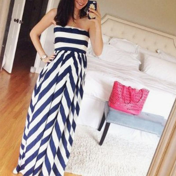Maternity Strapless Stripe Maxi Dress