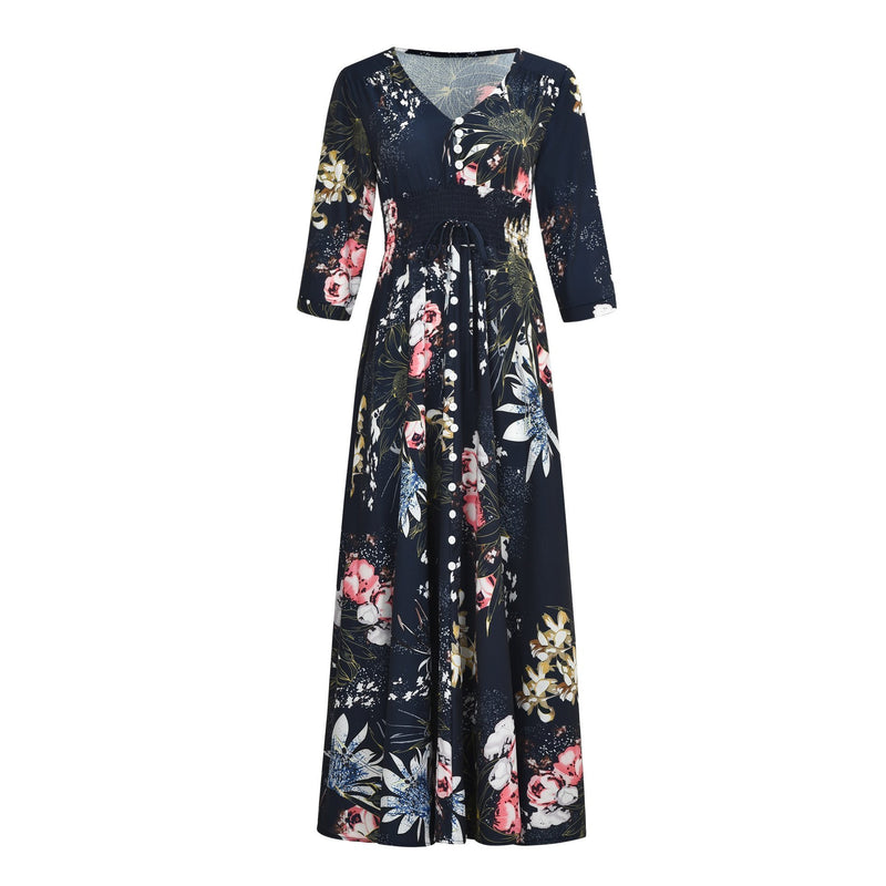 Ethnic Style V Collar Floral Printed 3/4 Sleeves Vacation Dress