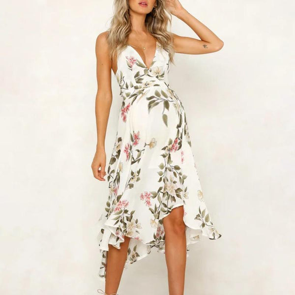 Maternity Spaghetti Strap Plant Long Dress