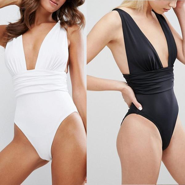 Solid Color Comfortable One-Piece Swimsuit