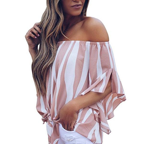 One-shoulder Striped Trumpet Sleeve Chiffon Shirt