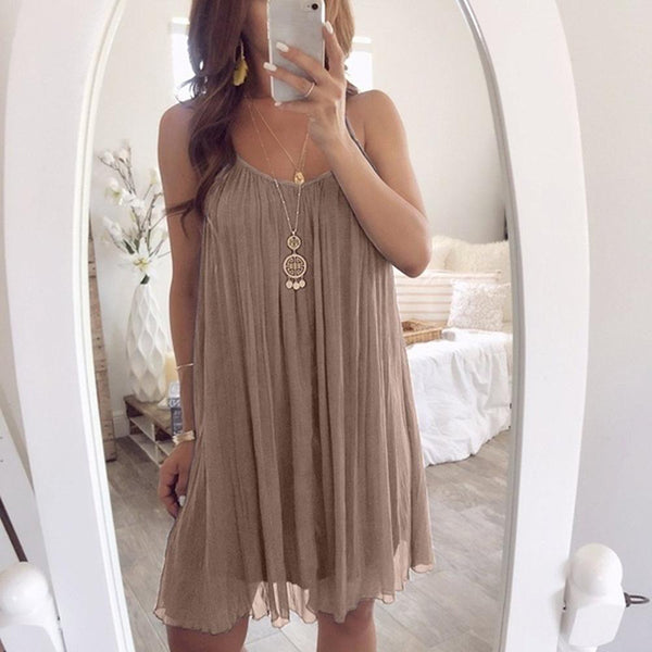 Maternity Solid Pleated Edged Camisole Chiffon Dress