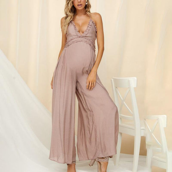 Maternity Sexy Backless Plain Spaghetti Strap Jumpsuit