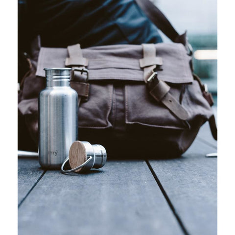 550 Ml Stainless Steel Water Bottle Matt Finished - Bamboo Lid - Water Bottle