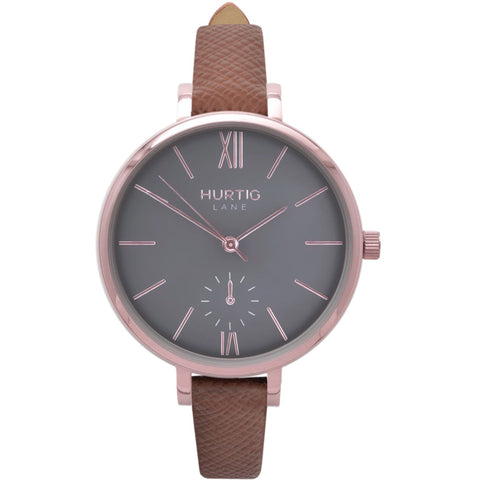 Amalfi Womens Watch - Rose Gold / Grey / Tan - Watch