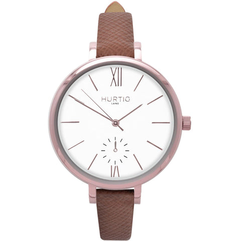 Amalfi Womens Watch - Rose Gold / White / Tan - Watch