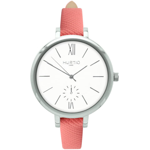 Amalfi Womens Watch - Silver / White / Coral - Watch