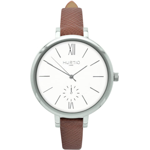 Amalfi Womens Watch - Silver / White / Tan - Watch
