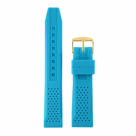 Attivo Blue Rubber - Multi-Colour Buckle - Gold - Watch Strap