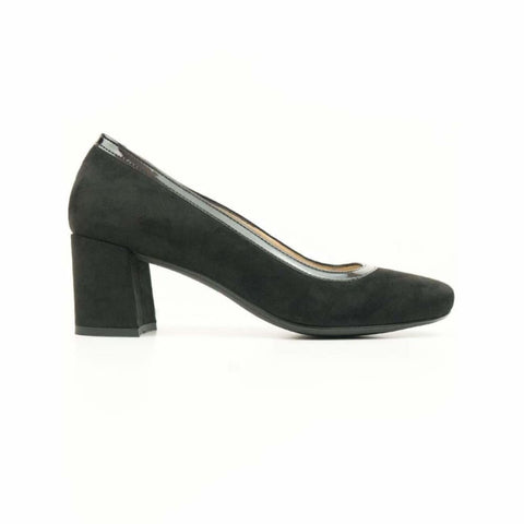 Block Heels - Black Vegan Suede - Shoes