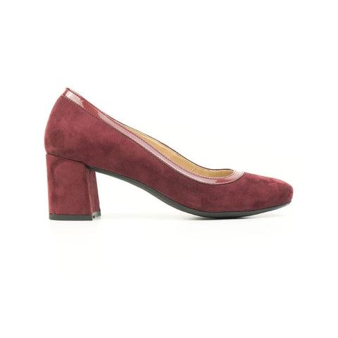 Block Heels - Wine Vegan Suede - Shoes
