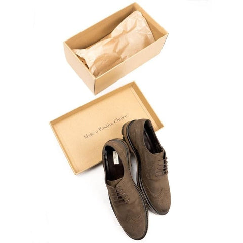 Continental Brogues - Brown Faux Suede - Shoes