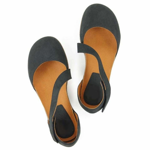 Cross-Over Strap Footbeds - Black - Sandals
