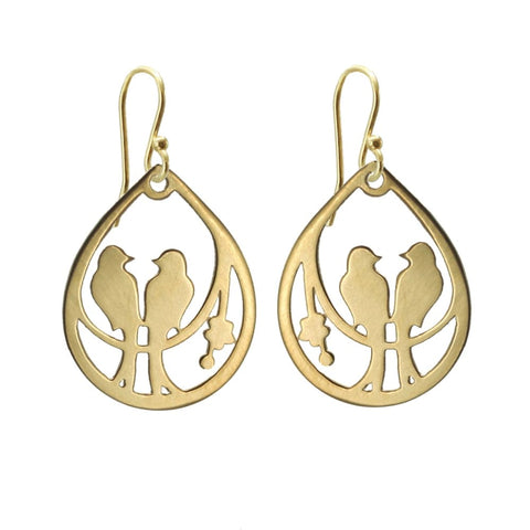 Drop Lovebird Earrings - Gold Plated - Earrings
