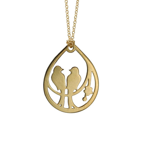 Drop Lovebird Necklace - Gold Plated - Necklaces