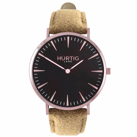 Hymnal Mens Watch - Rose Gold / Black / Camel - Watch