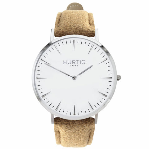 Hymnal Mens Watch - Silver / White / Camel - Watch