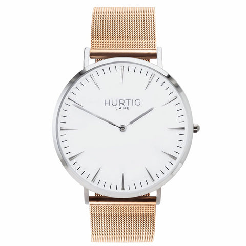 Lorelai Mens Watch - Silver / White / Rose Gold - Watch
