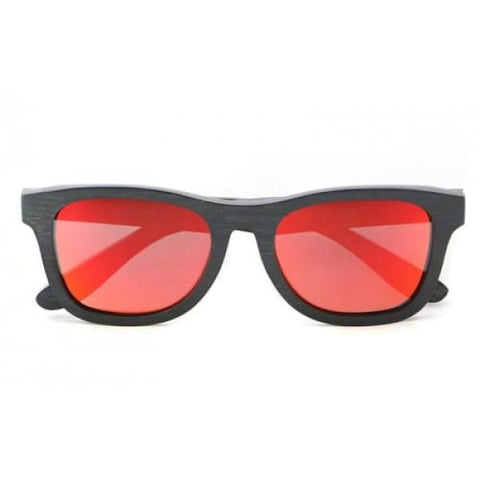 Monroe - Black (Red Revo) Bamboo Sunglasses - Sunglasses