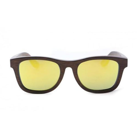 Monroe - Brown (Yellow Revo) Bamboo Sunglasses - Sunglasses