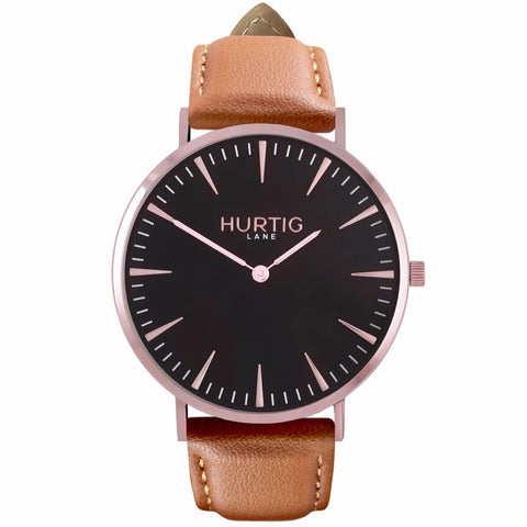 Mykonos Mens Watch - Rose Gold / Black / Tan - Watch