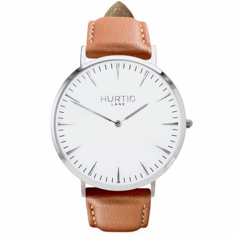 Mykonos Mens Watch - Silver / White / Tan - Watch