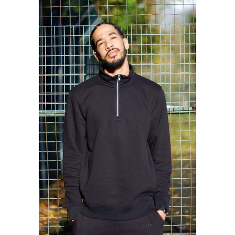 ORGANIC QUARTER ZIP - BLACK - Quarter zip sweater