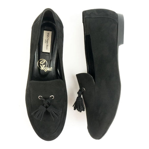 Tassel Loafers - Black Vegan Suede - Shoes