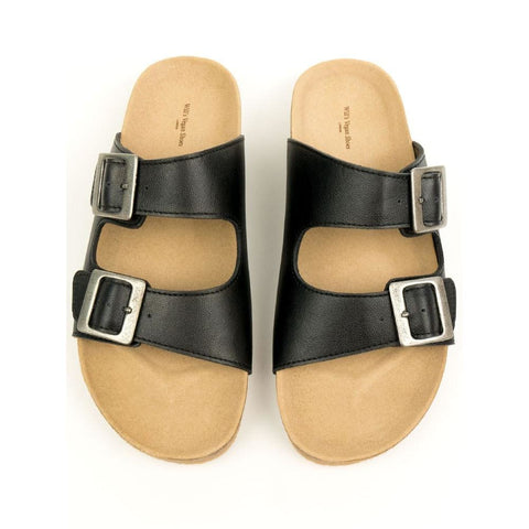 Two Strap Footbed Sandals - Black - Sandals