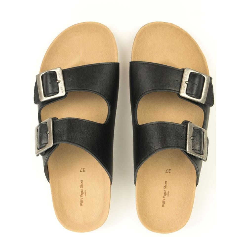 446563cbe7a76 ... Two Strap Footbed Sandals - Black - Sandals ...