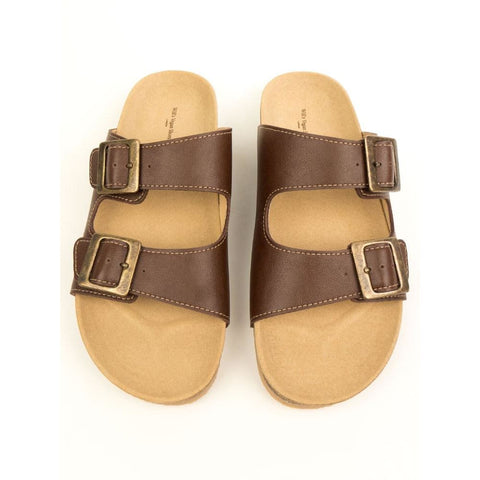 Two Strap Footbed Sandals - Chestnut - Sandals
