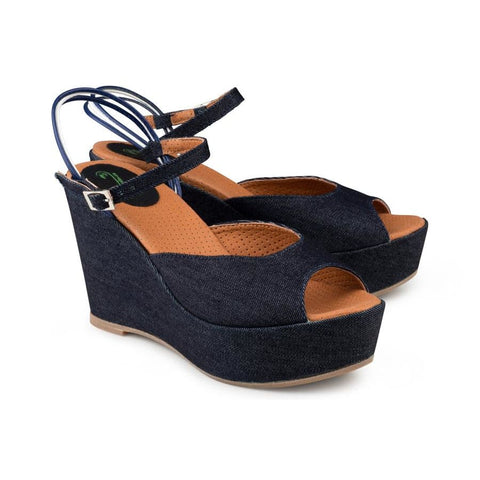 Victoria Wedge Sandal Jeans - Sandals