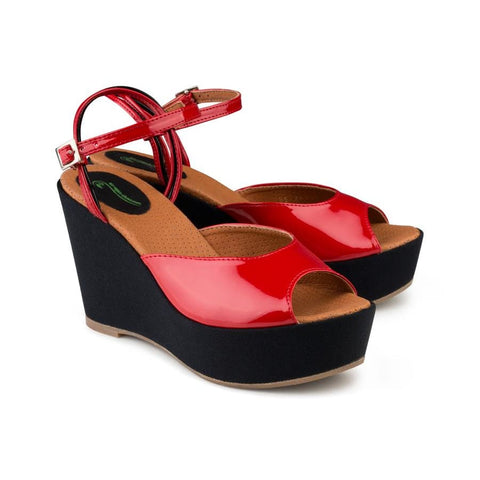 Victoria Wedge Sandal Red - Sandals
