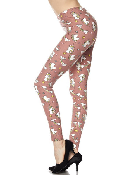 Leggings Buttery Soft Mauve Unicorns & Rainbows PLus Size (14-2X) - Other sizes special order
