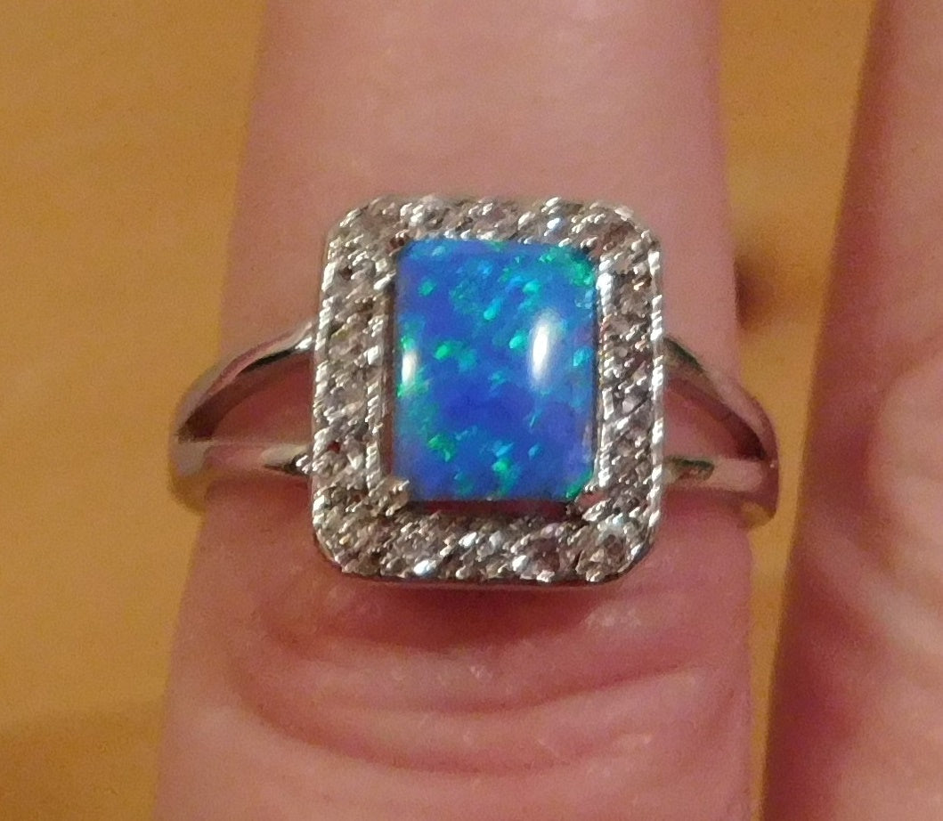Ring-Sterling-Silver-Opal-Square-Cut-Size-7-Brand New STAMPED 925