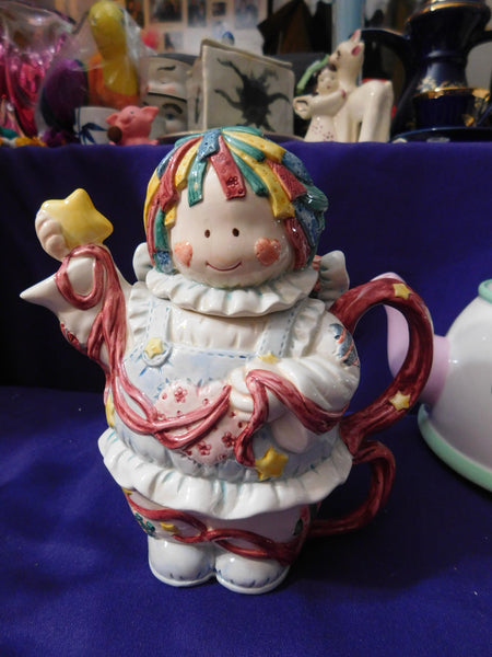 Teapot Stacking 1996 Cosmos Exclusive Angel Rag Doll Patchwork Quilt VINTAGE UNUSED