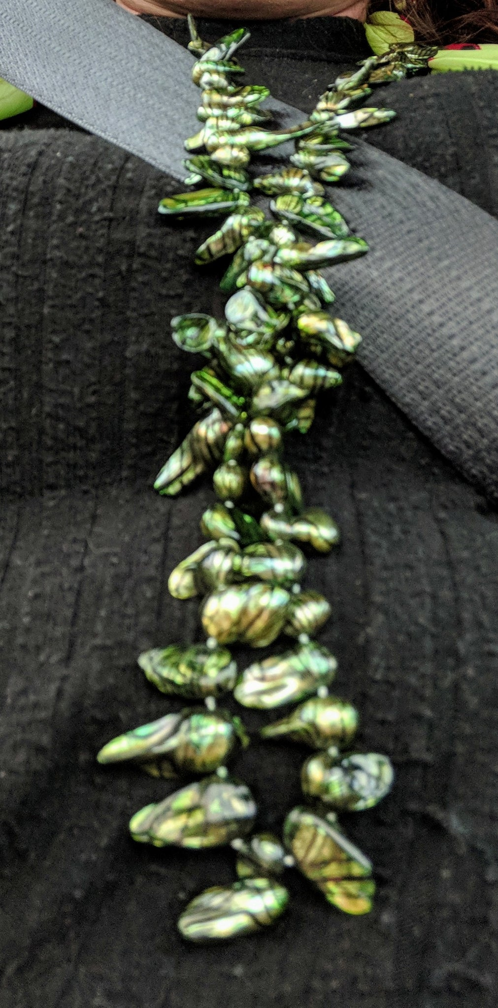 Necklace Pearl Rough cut Dark Green WGP clasp NEW