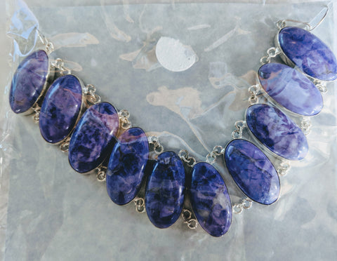 Silver and purple sodalite necklace