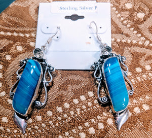 Earrings 925 Silver Blue Botswana with Lemon Topaz