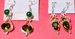 Earrings Sterling Silver & Peridot Green NEW