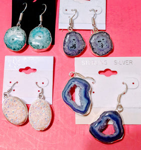Earrings Sterling Silver & Quartz Druzy Agate NEW