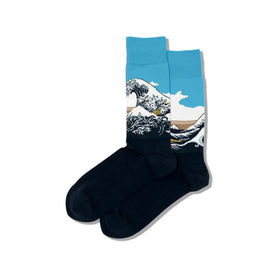 Hokusai's Great Wave Funny Beach Mens Novelty Crew Socks
